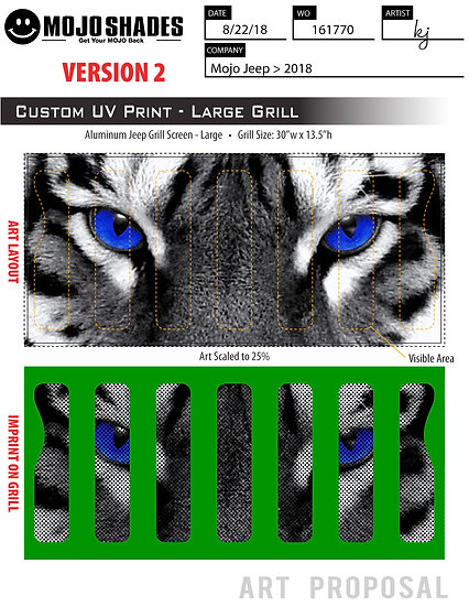 Mojo Jeep Grill Insert-Tiger Face Eye color options