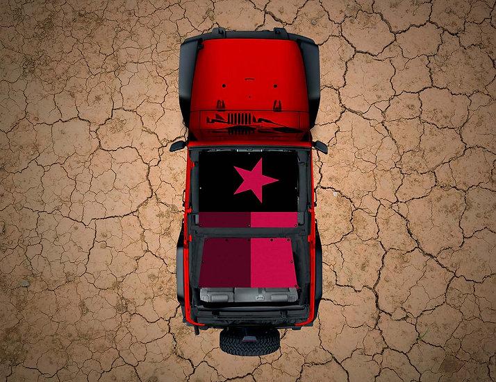 Mojo Jeep- Texas Flag Pink YJ Shade