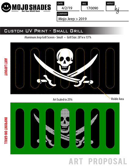 Mojo Jeep Grill Insert-Jolly Roger Pirate Flag
