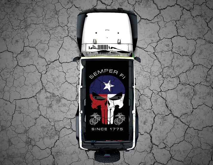 Mojo Jeep - FULL COLOR Texas Punisher SEMPER FI USMC
