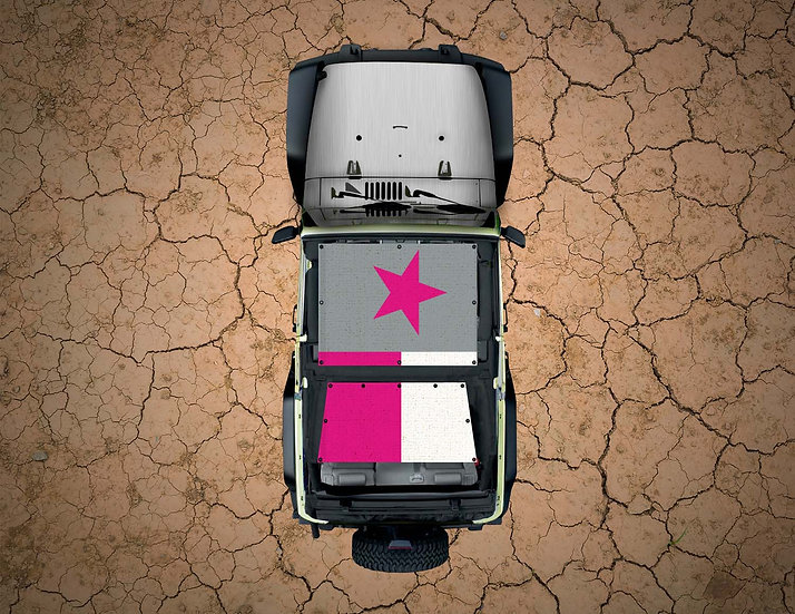 Mojo Jeep- Texas Flag Pink Grey YJ Shade