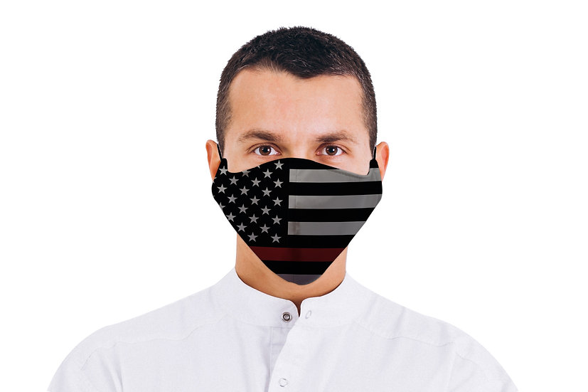Face Mask American Flag Thin Red Line