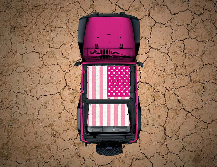 Mojo Jeep- USA Flag Pink YJ Shade