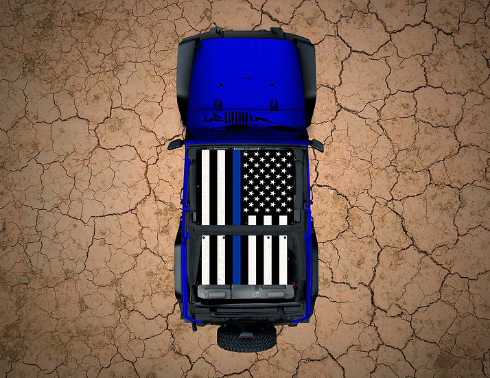 Mojo Jeep- USA Flag Thin Blue Line YJ Shade