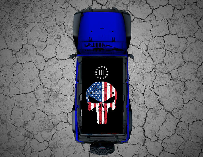 """Mojo Jeep - FULL COLOR USA Punisher """"III%"""""""