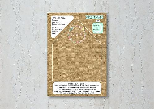 Hessian Floral Wedding Invitation Envelope Liner