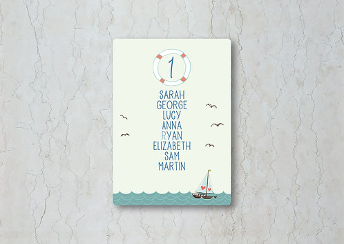 Nautical Wedding Table Plan Card