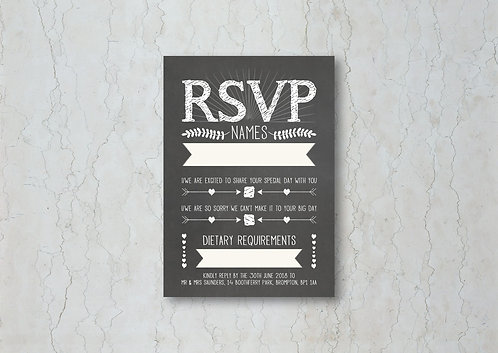 Chalkboard Wedding Invitation RSVP