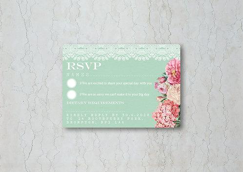 Floral Lace Wedding Invitation RSVP