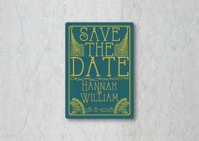 Art Deco Save the Date Wedding Invitatio