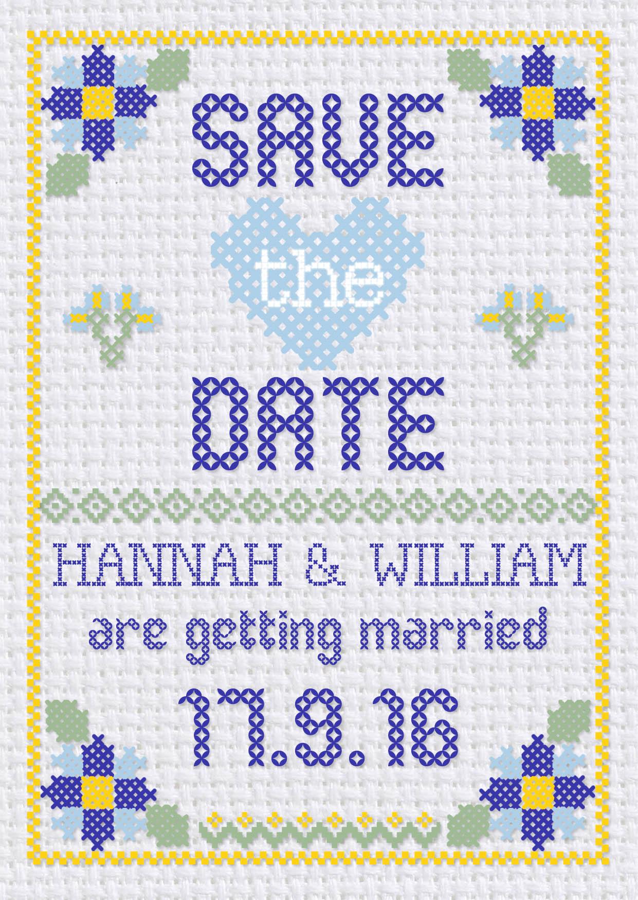 Cross Stitch Save the Date Blue