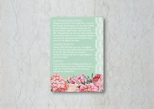 Floral Lace Wedding Invitation Insert