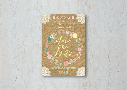 Hessian Floral Wedding Save the Date