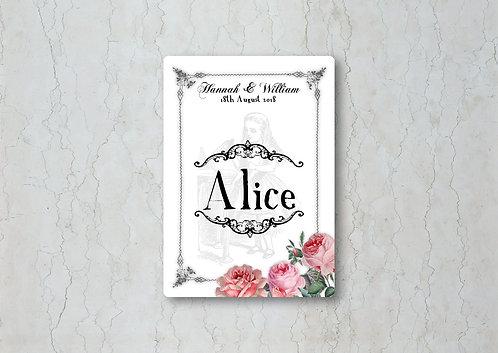 Alice in Wonderland Wedding Table Name