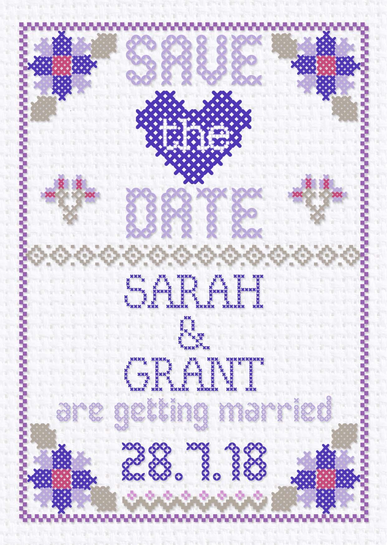 Cross Stitch Save the Date Purple
