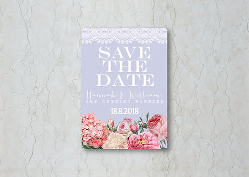 Floral Lace Lilac Save the Date