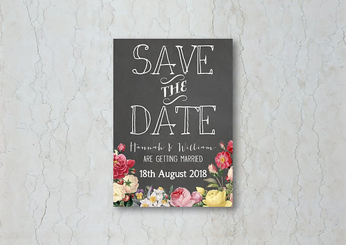 Floral Chalkboard Wedding Save the Date