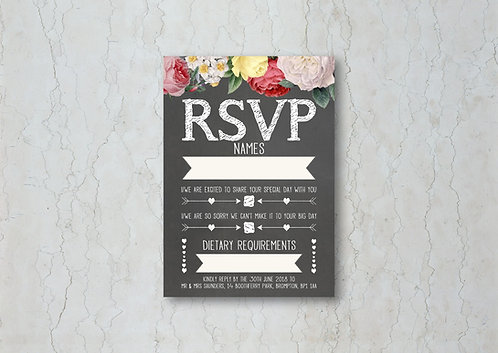 Floral Chalkboard Wedding Invitation RSVP