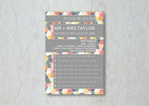 Geometrics Wedding Table Plan