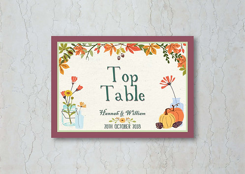 Autumn Wedding Table Name