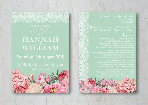 Floral Lace Wedding Order of Service