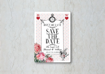 Alice in Wonderland Save the Date Wedding Invitation