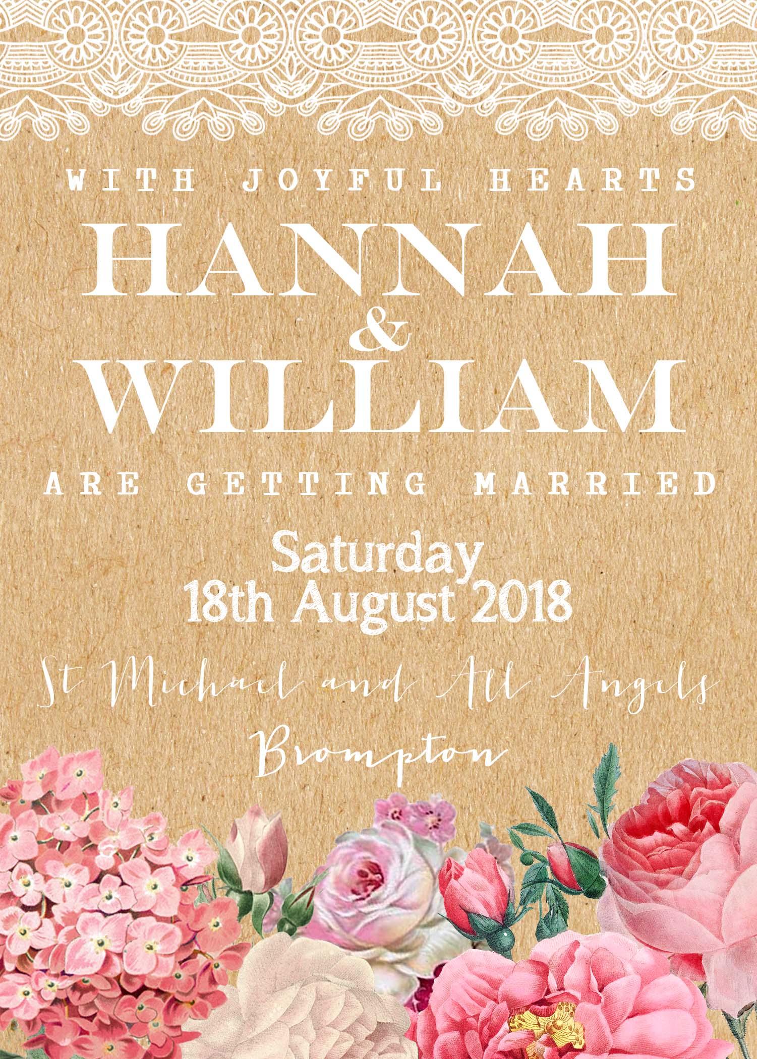 Floral Lace Wedding Invitation Kraft