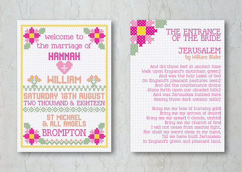 Cross Stitch Wedding Order of Service