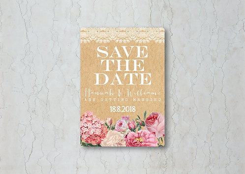 Floral Lace Kraft Change the Date
