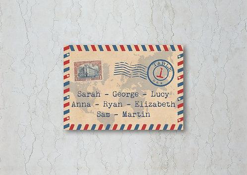 Airmail Wedding Table Plan Card
