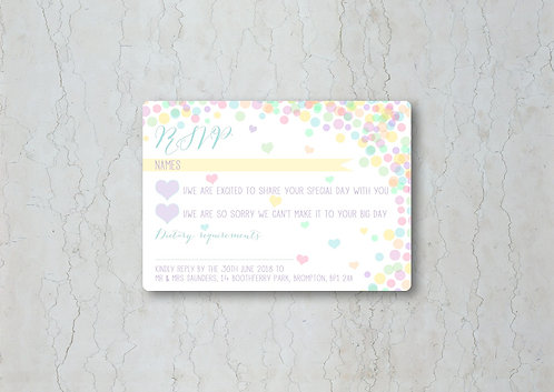Candy Confetti Wedding Invitation RSVP