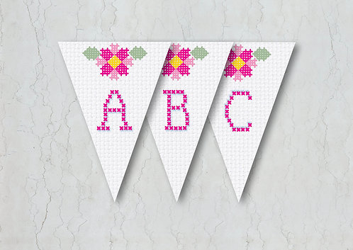 Cross Stitch Wedding Bunting