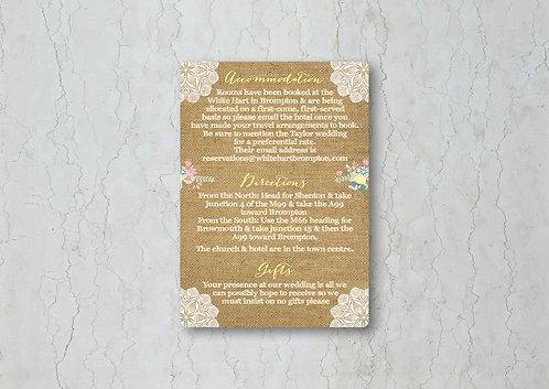 Hessian Floral Wedding Invitation Insert