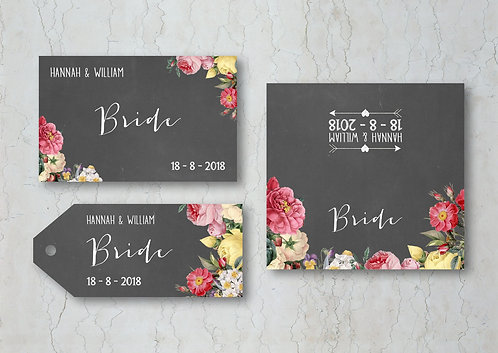 Floral Chalkboard Wedding Place Cards