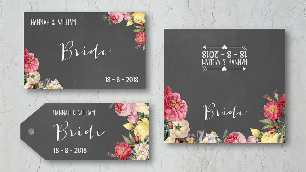 Floral Chalkboard Wedding Place Cards