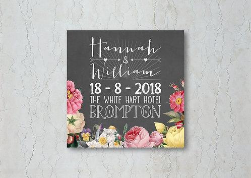 Floral Chalkboard Wedding Beer Mat