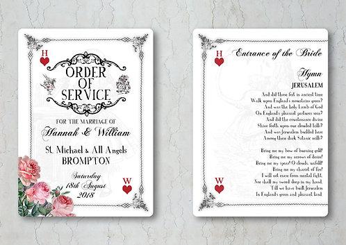 Alice in Wonderland Wedding Order of Service