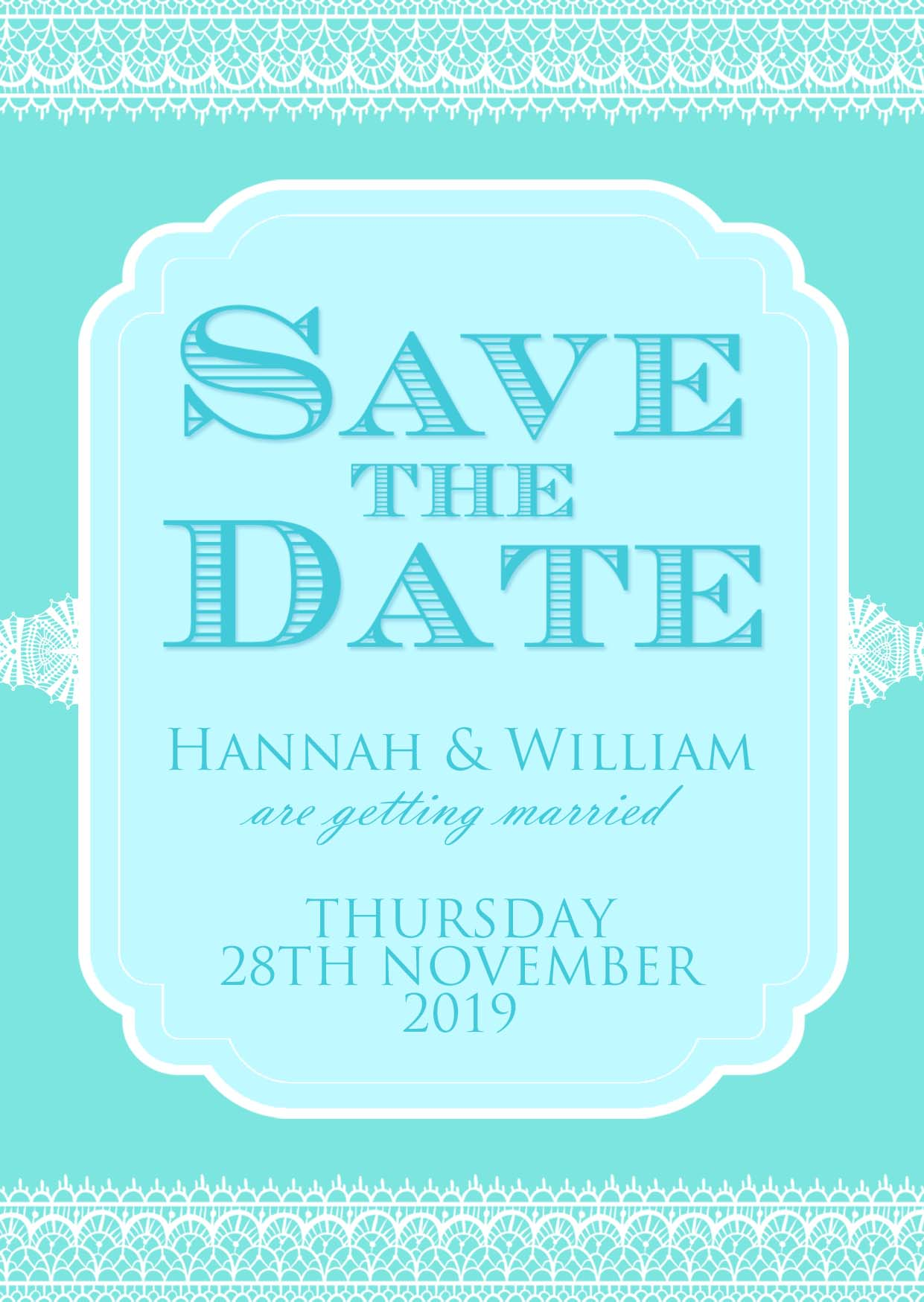 Classic Lace Save the Date Aqua