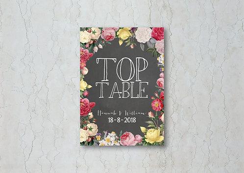 Floral Chalkboard Wedding Table Name