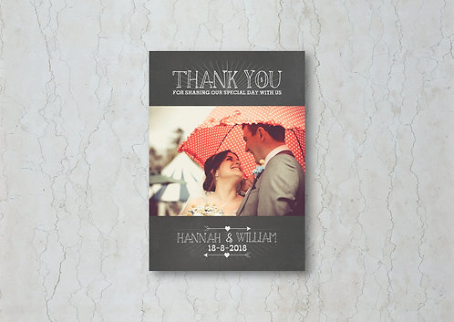 Chalkboard Wedding Thank You Card