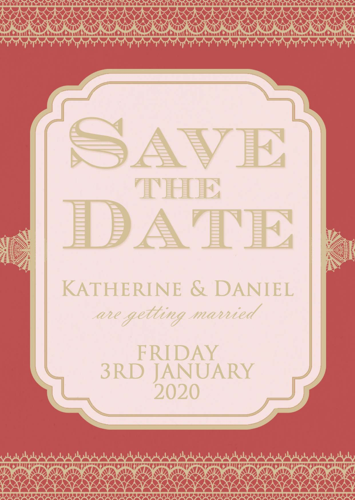 Classic Lace Save the Date Royal