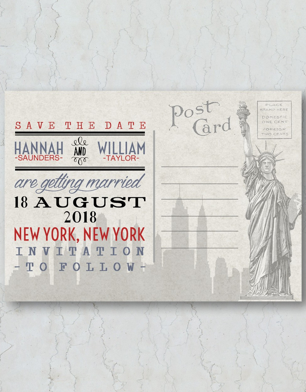 New York Save the Date Wedding Invitatio