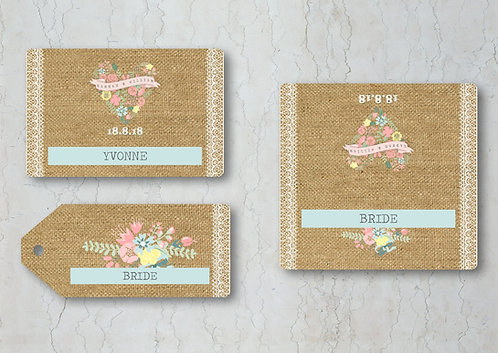 Hessian Floral Wedding Place Cards