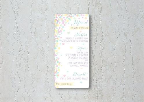 Candy Confetti Wedding Menu