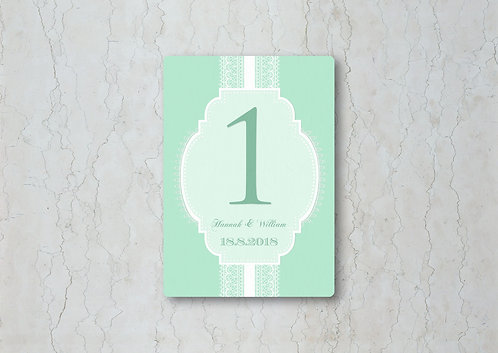 Classic Lace Wedding Table Number