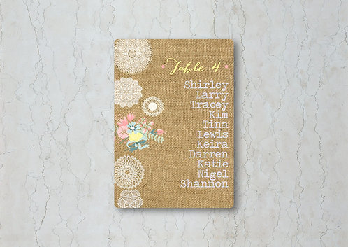 Hessian Floral Wedding Table Plan Card