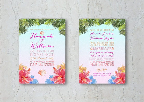 Tropical Wedding Stationery Invitations.