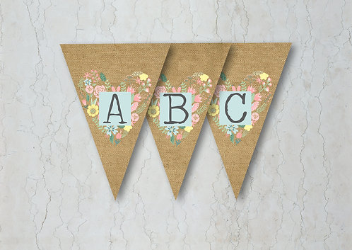 Hessian Floral Wedding Bunting