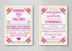 Cross Stitch Wedding Invitation
