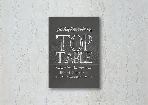 Chalkboard Wedding Table Name